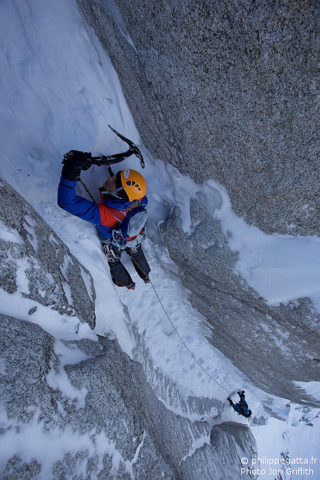 Philippe in the Chimney, beautiful pitch (Photo J. Griffith)