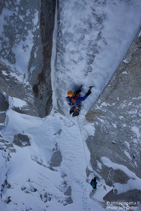 Philippe dans le premier crux (Photo J. Griffith)