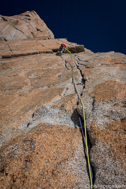 Philippe in the 3rd pitch, 6b (© A. Gatta)
