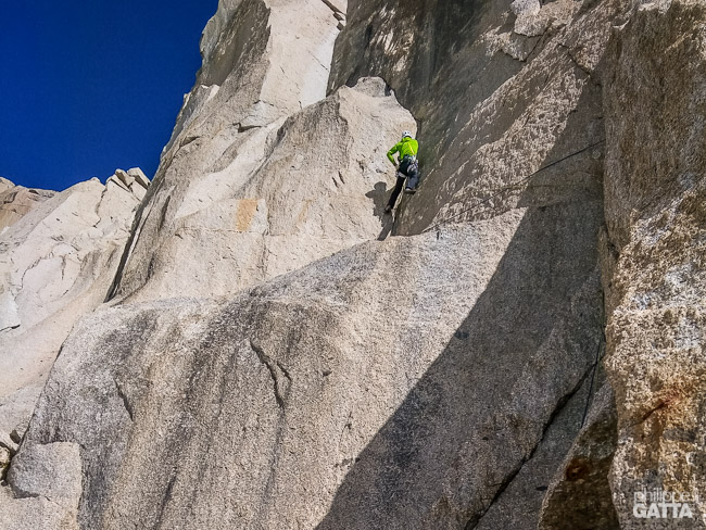 End of 3rd pitch of La Dame du Lac (© P. Gatta)