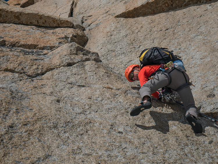Kohlmann: pitch #5, crux of the 6c (© M. Baduel)