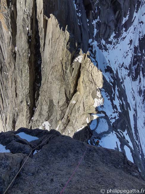 First pitch of Aiguille du Fou (© A. Chabot)