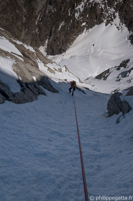 Abseiling Spencer Couloir (© P. Gatta)
