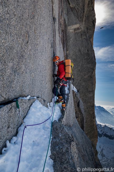Lambert crack in the North face of Petit Dru (© P. Gatta)