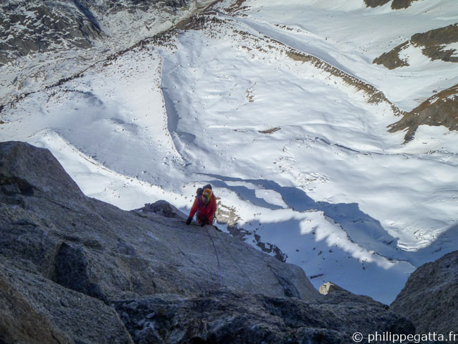 Second day in Allain-Leininger route in the North face of Petit Dru (© A. Chabot)