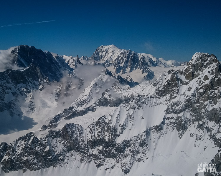 View from the top: Grandes Jorasses and Mont Blanc (© P. Gatta)