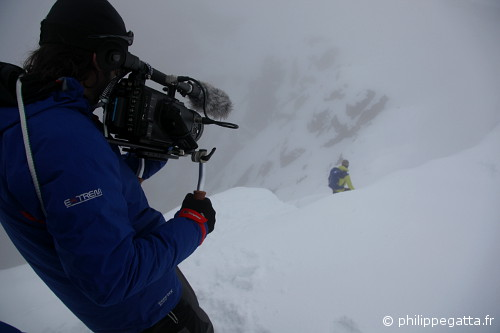 Alastair Lee filming Philippe in the Marmolada (© Anna Gatta)