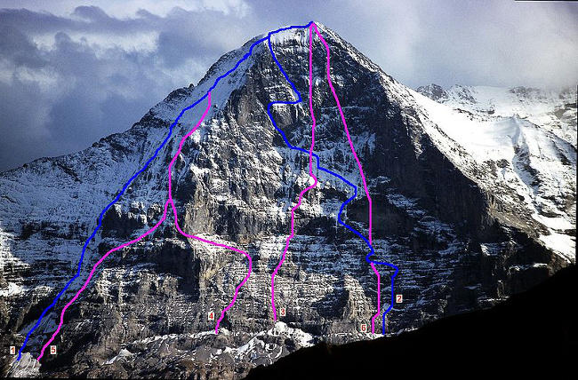 North Face of Eiger: the 1938 route is #2 in blue in the center of the face (Wikimedia common)
