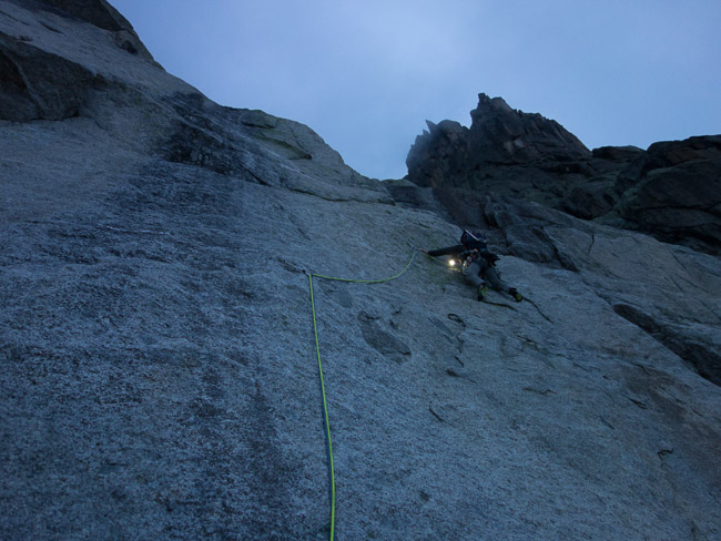 Philippe in the second pitch, 6a (© R. Hewitt)
