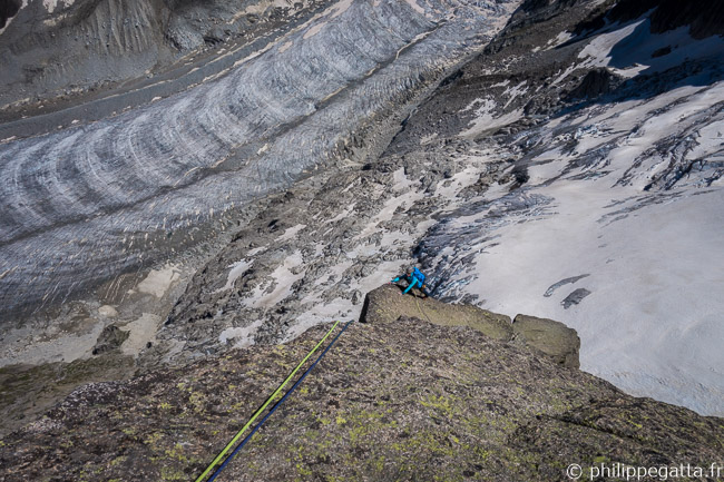 Last pitch of Guy-Anne, l'insolite. Mer de Glace behind (© P. Gatta)