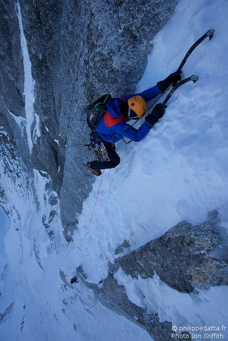 Philippe in the steep pitches of Vivagel (Photo J. Griffith)