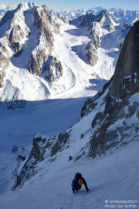 Philippe in the Couloir above the gullies of Vivagel (Photo J. Griffith)