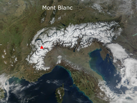 The Alps and the Mont Blanc Massif (Courtesy NASA/JPL-Caltech)