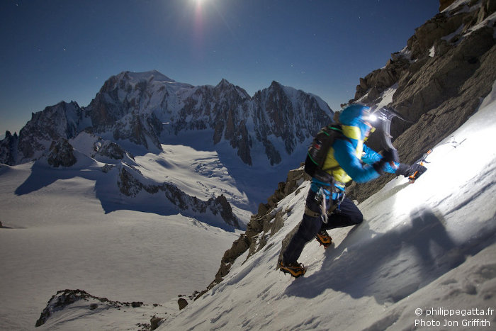 Anna climbing the first couloir under the full moon (Photo J. Griffith)