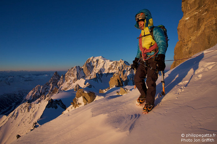 Anna on the Rochefort ridge. Peuterey and Mont Blanc behind (Photo J. Griffith)