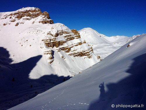 Tete Ronde on the right seen from the top of the Couloir (© P. Gatta)