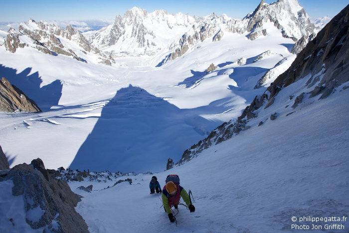Philippe and Anna high up in the Tour Ronde North face (Photo J. Griffith)