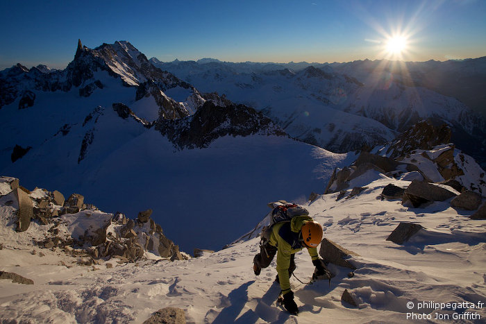 Close to the top of Tour Ronde, Dent du Geant behind (Photo J. Griffith)