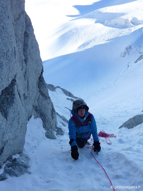 Anna in the North face of Tour Ronde (� P. Gatta)