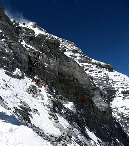 Everest Second step seen from below (previous year) (� Jamie McGuiness)