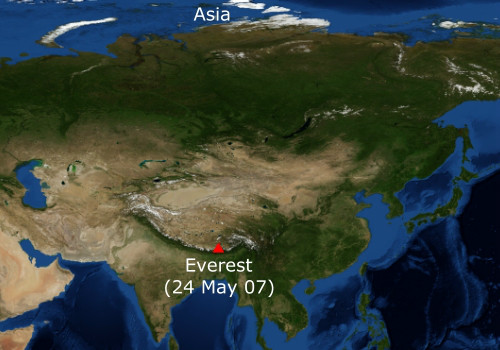 Mt. Everest and Asia's map
