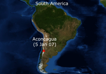 Map of South America and Aconcagua (Courtesy NASA/JPL-Caltech)