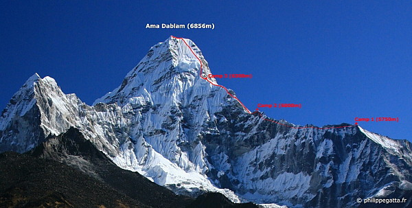 Southwest ridge of Ama Dablam and the 3 high camps (Photo © P. Gatta)
