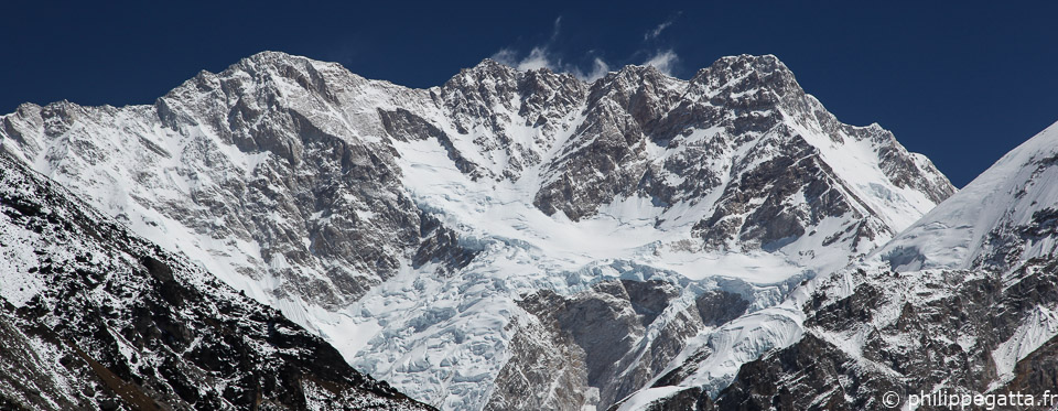 The Southwest face of Kangchenjunga. The main summit is in the center of the photo (� P. Gatta)