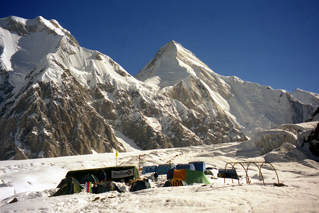 The South face of Khan-Tengri (on the right) seen from the base camp