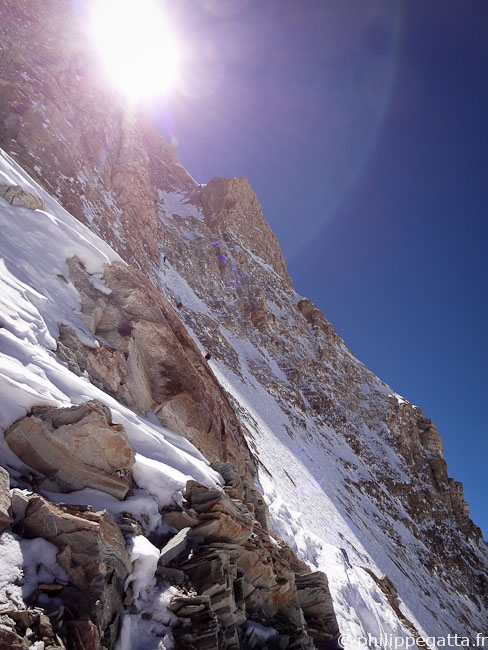 Entering the Couloir at around 6,500 m (� P. Gatta)