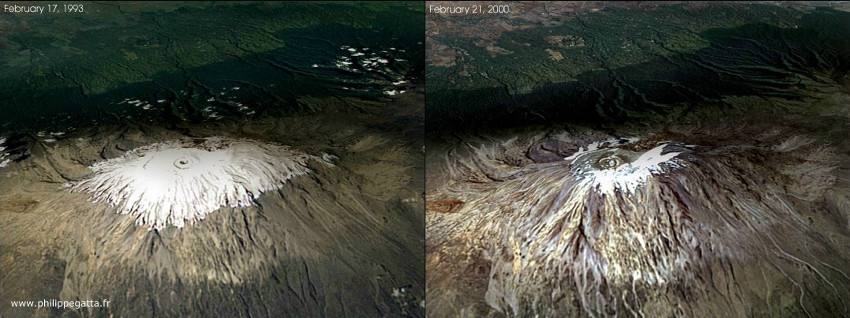 These two images taken by NASA show the changes in snow accumulations on the summit of Mount Kilimanjaro (NASA, public domain)