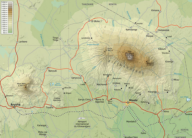 Map of Mount Kilimanjaro (Wikipedia, GNU 1.2)