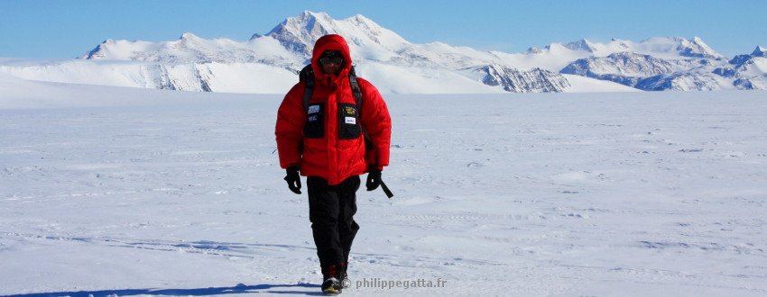 Philippe at Patriot Hills, Antarctica (� P. Gatta)