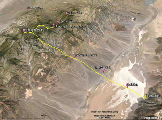 Map of my Death Valley trail (© P. Gatta)