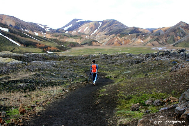 Philippe in the lava fields, just after Landmannalaugar (� A. Gatta)