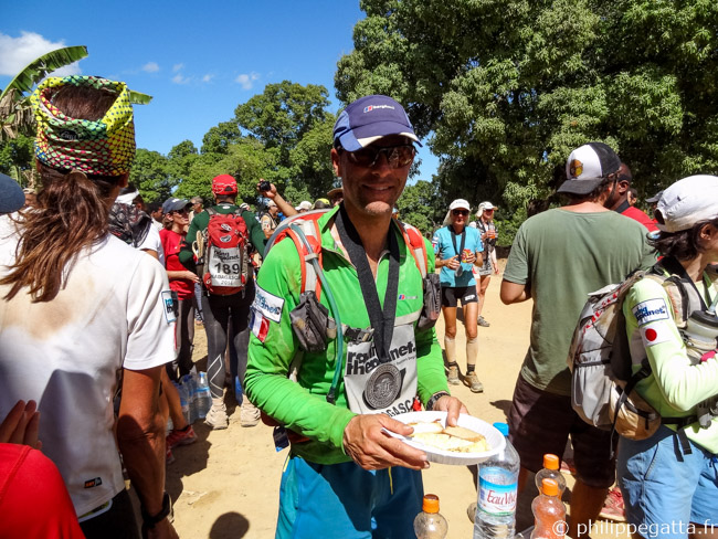 Some food at the finish line of the Madagascar Race