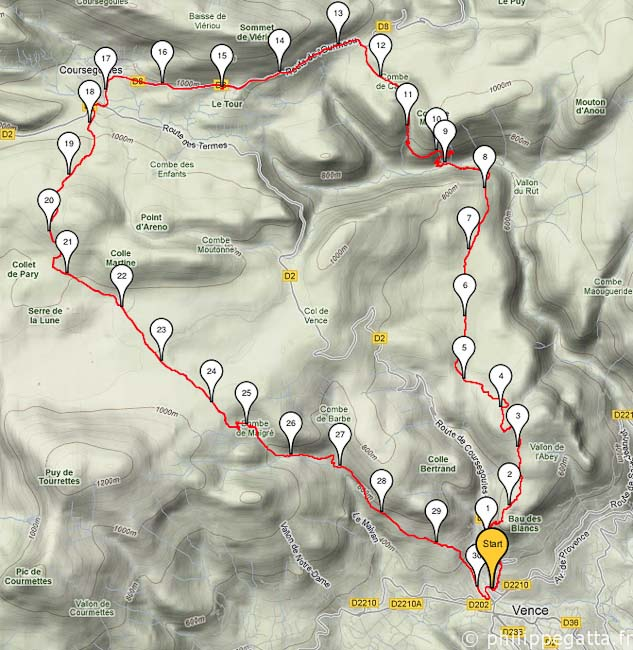 Map of the Trail (© Philippe Gatta)