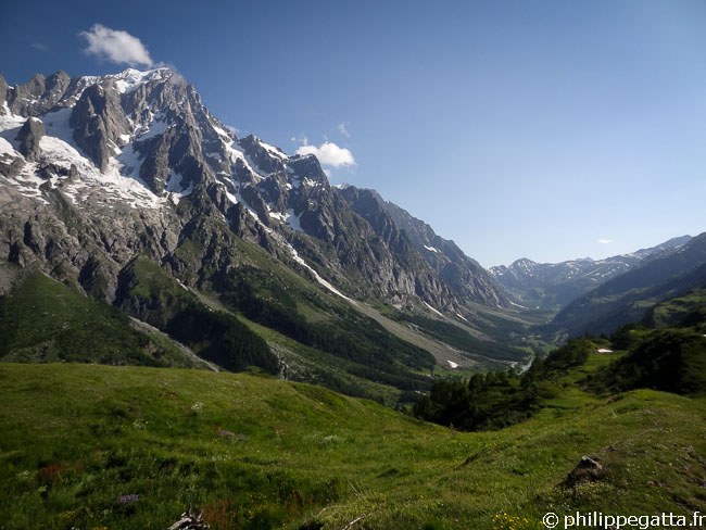 TMB: after Refuge Bertone with the Grandes Jorasses behind (© P. Gatta)