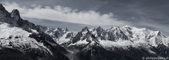 Panorama from les Drus to Aiguille du Gouter (© P. Gatta)