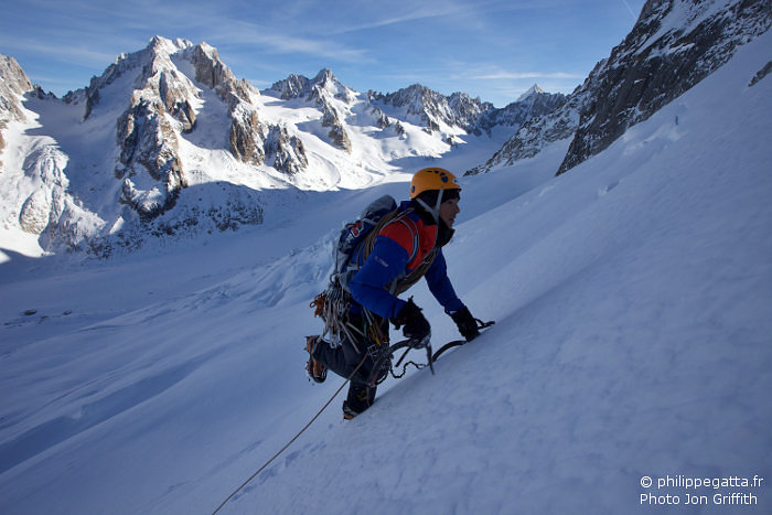 Philippe in the lower slopes (Photo J. Griffith)