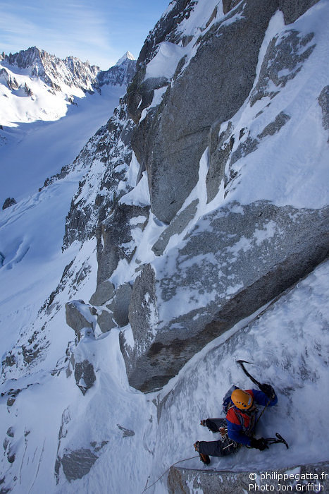 Philippe in the first crux (Photo J. Griffith)