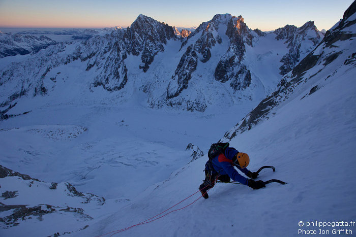 Philippe in Vivagel at sunrise. Aiguilles Chardonnet and Milieu behind (Photo J. Griffith)