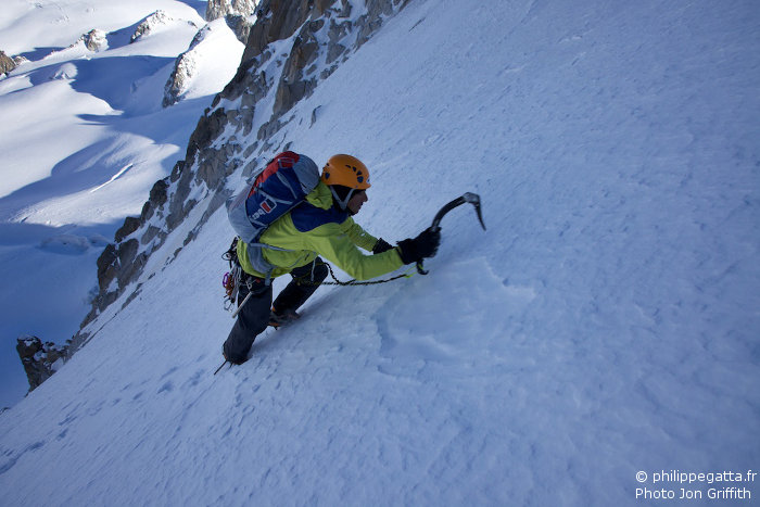 Philippe in the Tour Ronde North face (Photo J. Griffith)