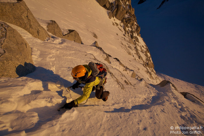 Philippe on the East face of Tour Ronde (Photo J. Griffith)