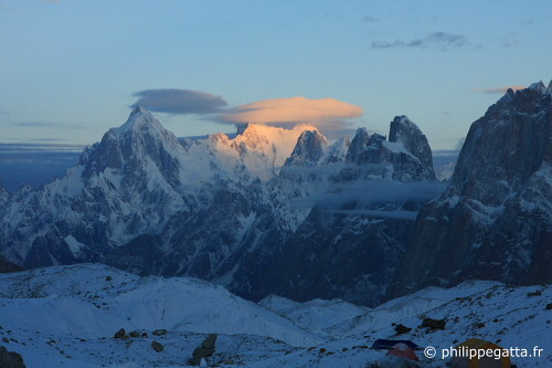 Sunrise on the Trango Namless Towers, seen from Goro 2 (Photo © P. Gatta)